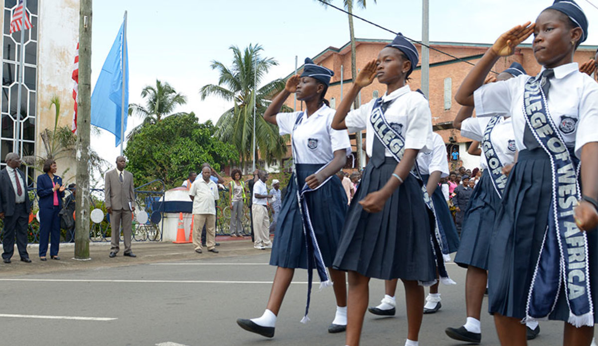 Liberian students parade on UN Day